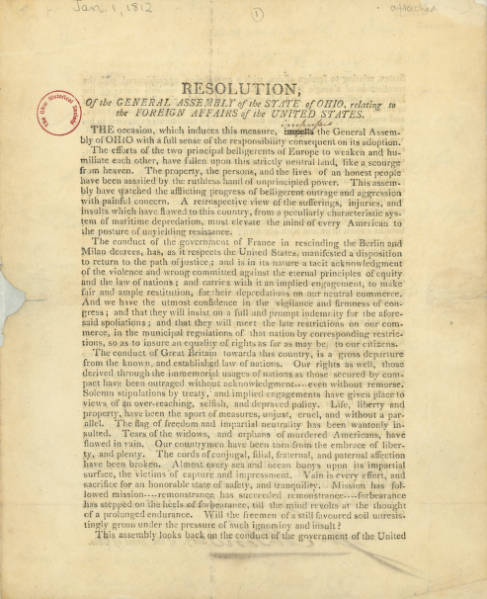 Governor Return Jonathan Meigs Letter to Henry Clay Regarding Resolution of Support for Action Against France and/or England