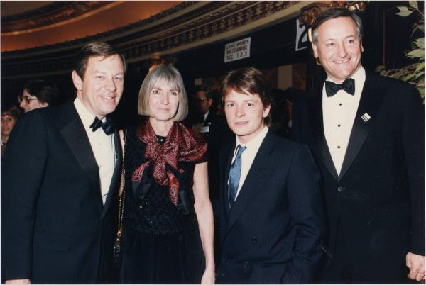 George Voinovich, Janet Voinovich, Michael J. Fox and Richard Celeste at Light of Day Premiere photograph
