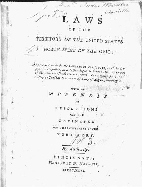Maxwell's Code (Laws of the Territory of the United States North-west of the Ohio)