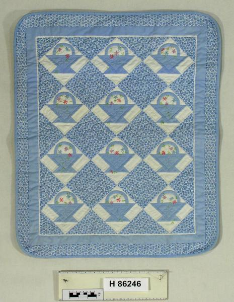 Lois K. Ide Doll Basket Quilt and Brass Bed