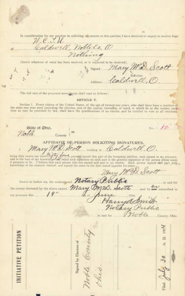 Noble County Women's Suffrage Petition