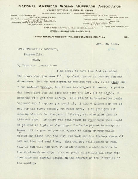 Susan B. Anthony Letter to Frances Casement regarding suffrage leadership