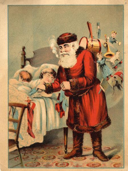 Santa Claus delivering presents advertisement
