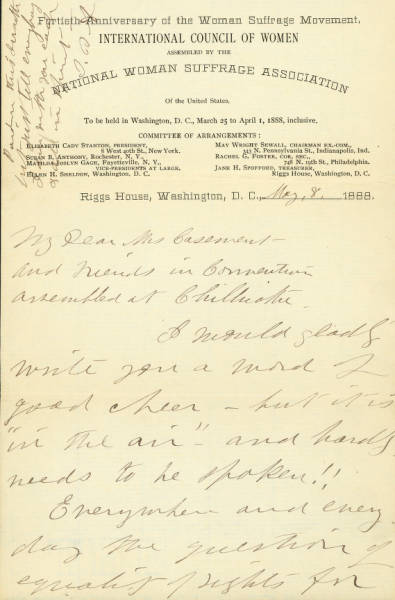 Susan B. Anthony letter to the Ohio Woman Suffrage Association Convention