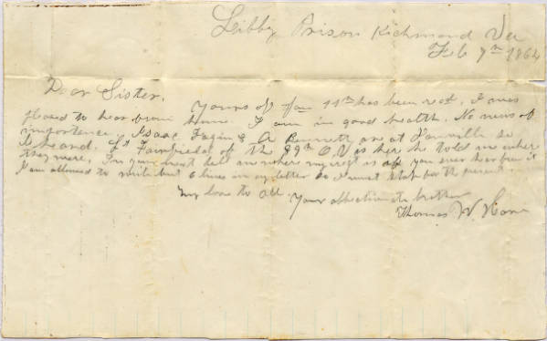 Thomas W. Hare Civil War letter from Libby Prison