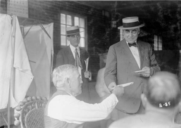 Warren G. and Florence Harding voting photographs