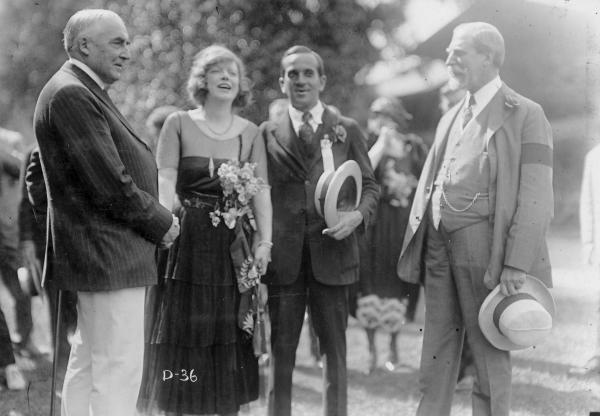 Warren G. Harding with Blanche Ring, Al Jolson, and Charles Evans Hughes photograph