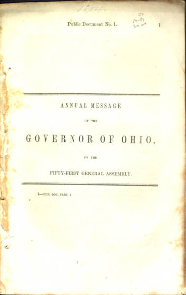 William Medill 1854 State of the State Address