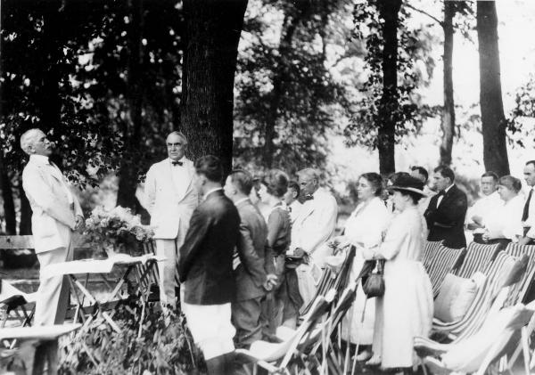 William Anderson leading Sunday Services during Ford, Firestone, Edison and Harding camping trip photograph