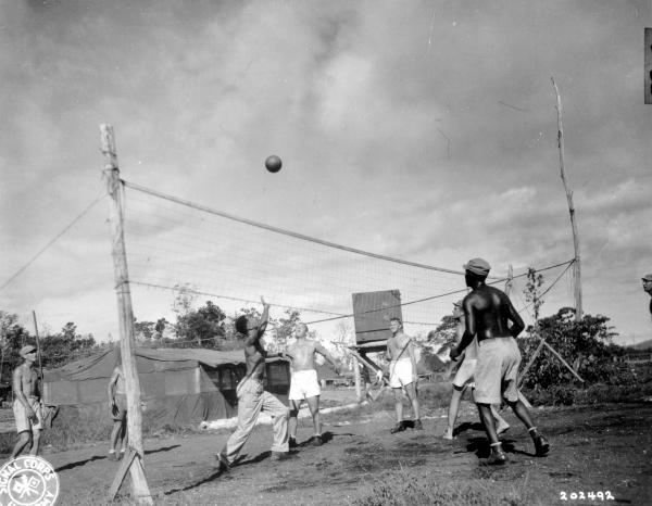 World War II soldiers playing volleyball photograph