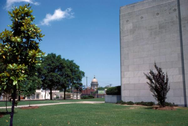 Mississippi State Capitol in distance and Mississippi War Memorial Building
