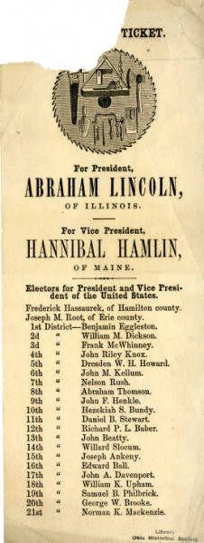 Abraham Lincoln's Ohio union presidential election ticket