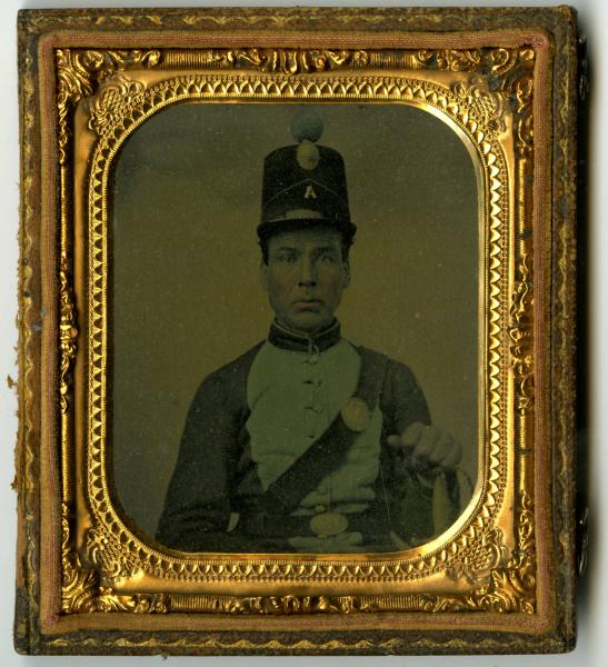 Unidentified Civil War soldier with shako photograph