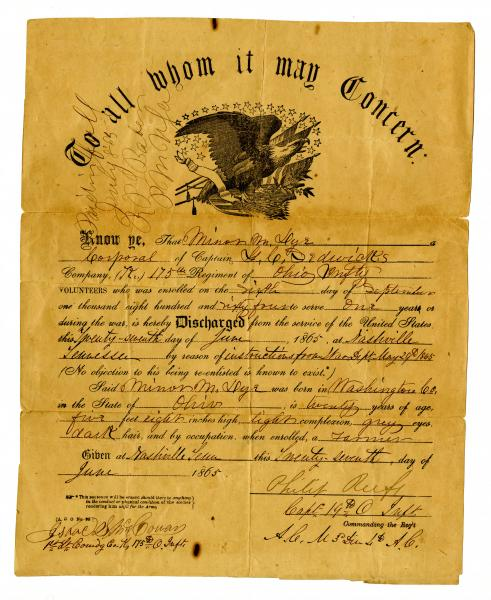 Discharge Papers for Minor M. Dye