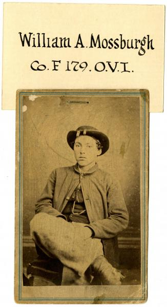 Description Carte De Visite Of Pvt William A Mossburg Who Served With Company F The 179th Ohio Volunteer Infantry He Was Originally From Liberty