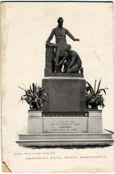 Abraham Lincoln emancipation statue in Boston, Massachusetts, photographic print in card stock