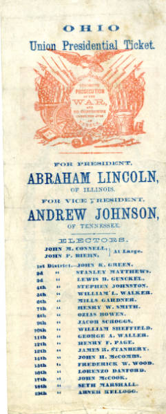 Abraham Lincoln presidential election ticket