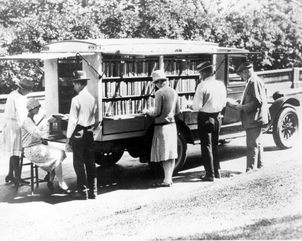 Patrons Using Mobile Library