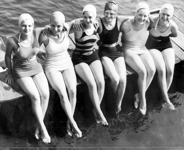Y.W.C.A. girls at swimming pool
