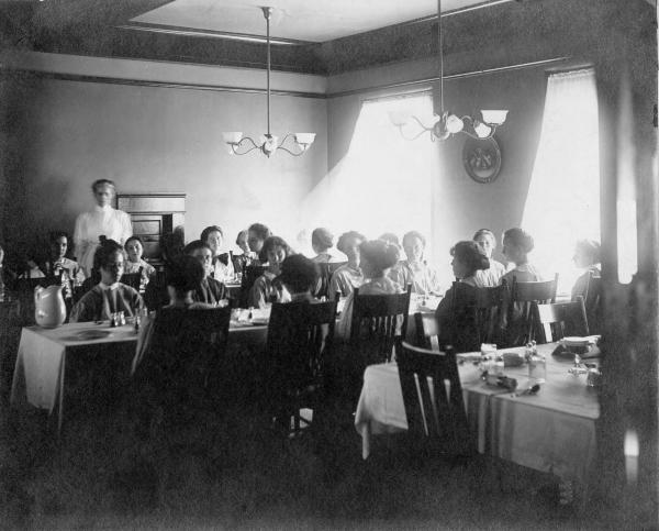 Girls' Industrial School Inmates in the dining room