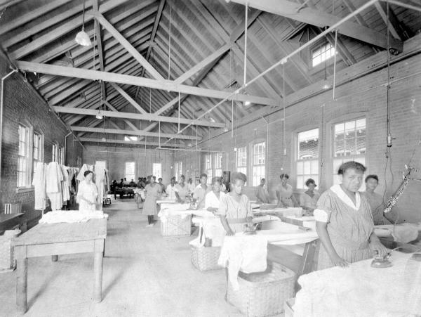 Girls' Industrial School inmates doing laundry