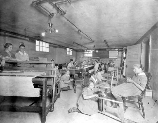 Girls' Industrial School inmates in industrial art class