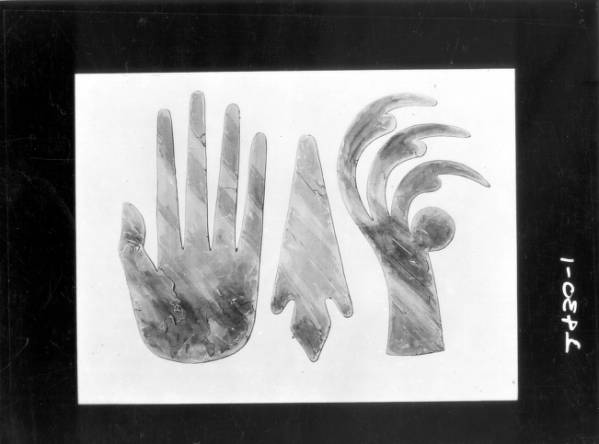 Mica hand, spearpoint, and hawk claw cut-outs