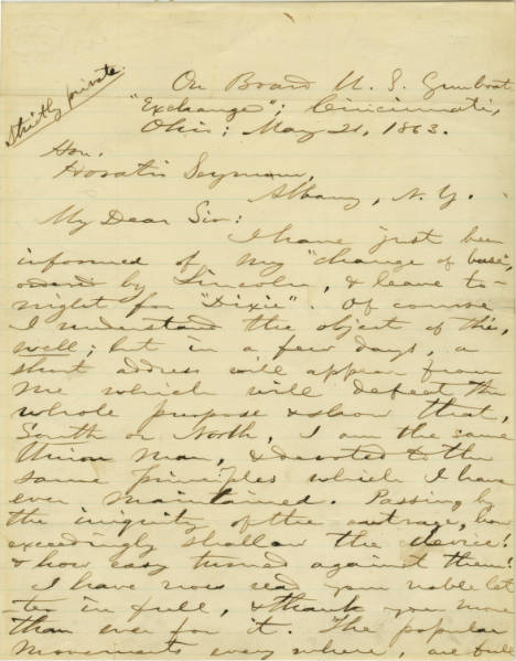 Clement L. Vallandigham letter to Horatio Seymour regarding deportation to Confederacy