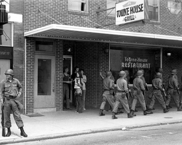 Ohio National Guardsmen Marching in Athens, Ohio