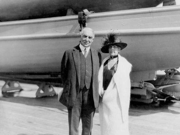 Warren G. and Florence Harding on Board the USS Henderson photograph