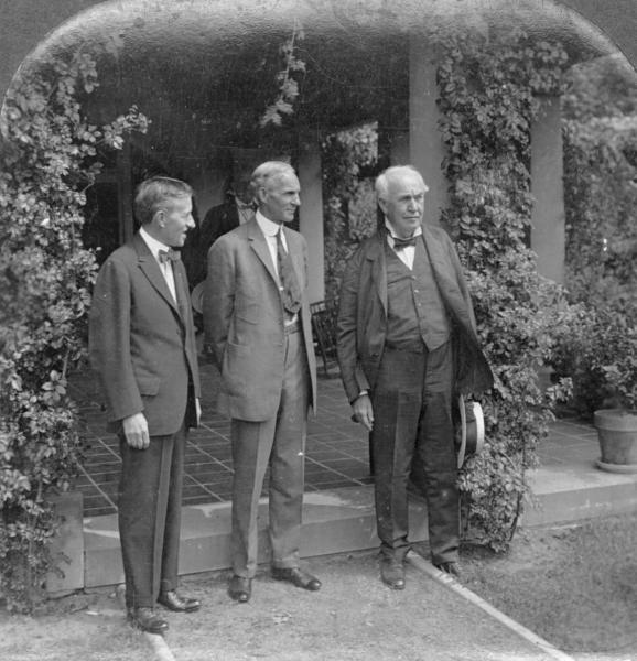 Thomas Edison, Harvey Firestone and Henry Ford photograph