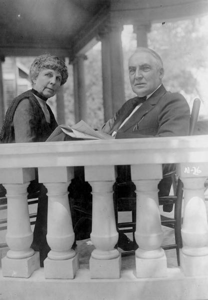 Warren G. Harding and Florence Harding on porch photograph