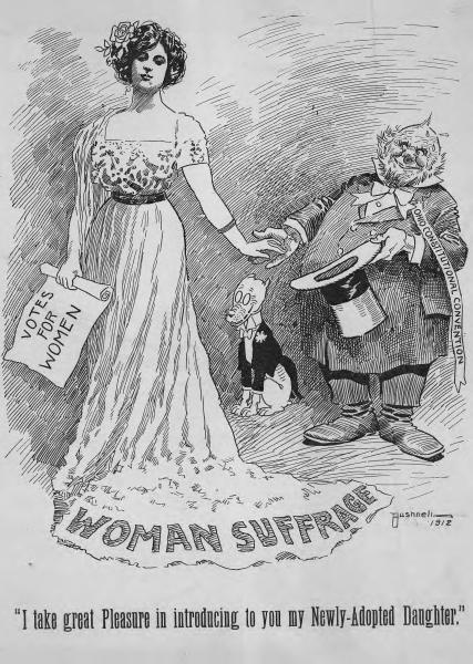 Women's suffrage political cartoon