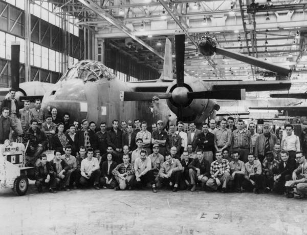 North American Aviation employees with AJ-2