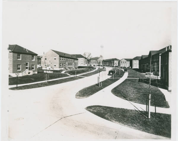 Residential street with townhouses photograph