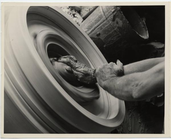 Pottery being formed on a wheel