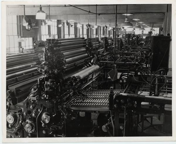 Lithography machines in the Strobridge Lithographing Plant