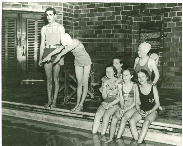 National Youth Administration lifeguard at Roosevelt Pool