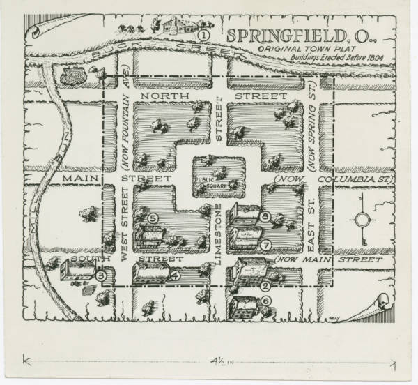 Illustrated map of Springfield, Ohio