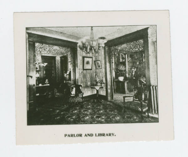 E.W. Swisher home's parlor and library