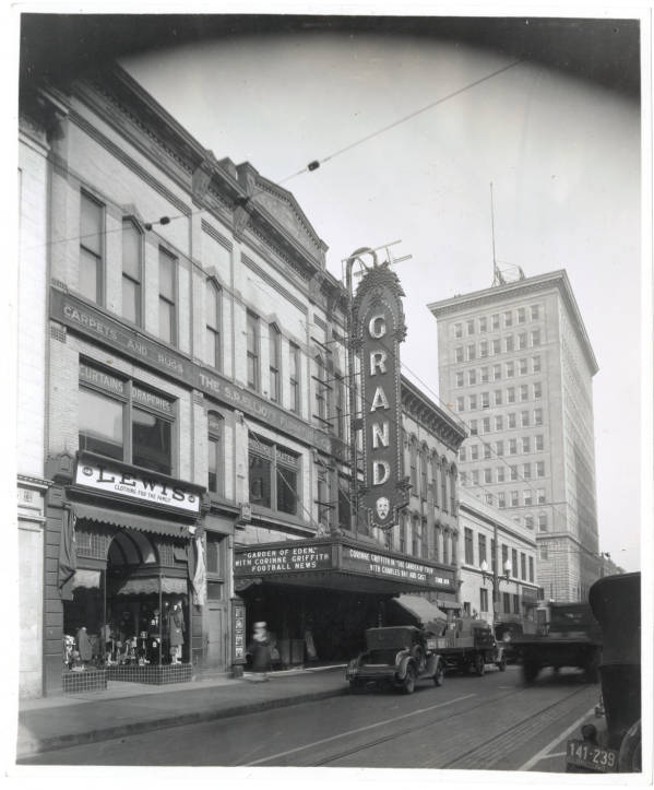 Grand Theatre and National Exchange Bank and Trust building photograph