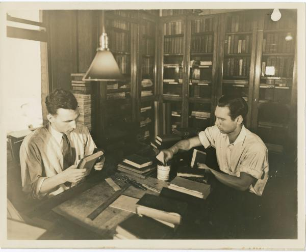 Bookbinding in Cincinnati Public Library photograph