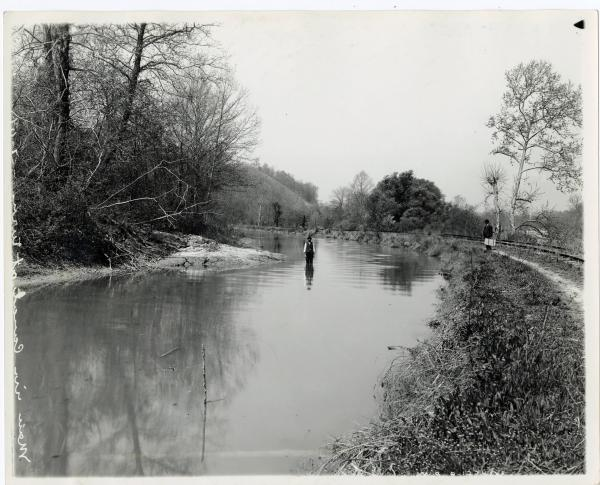 Man wading in the Miami and Erie canal, Montgomery County, Ohio