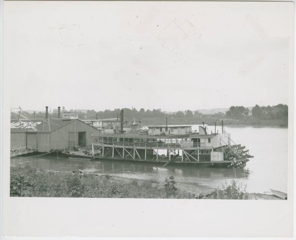 Boat anchored on the Ohio River photograph