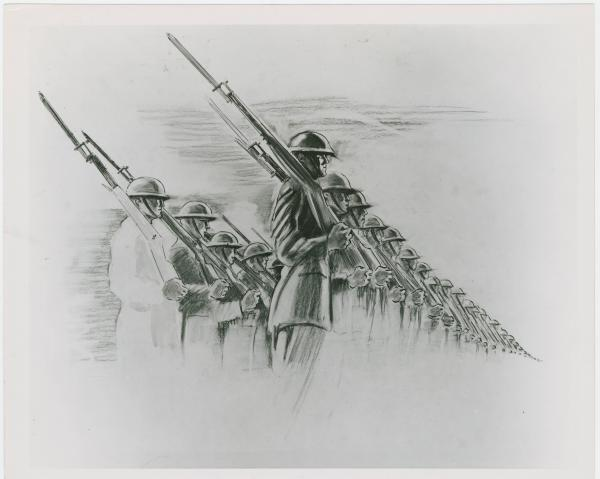 American soldiers drawing