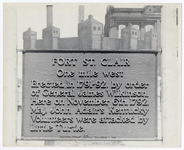 Fort St. Clair sign at Eaton Courthouse