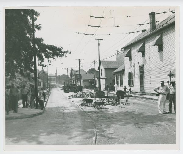 Car track removal on Clover Street in Dayton photograph