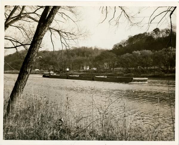 Barges on Muskingum River photograph