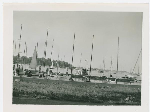 Sailboats in a harbor, Lake Erie