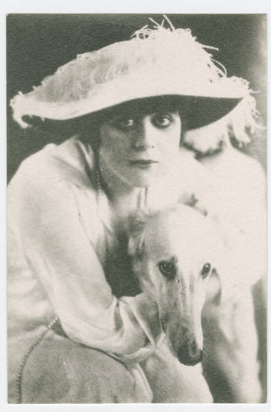 Unidentified Woman with Russian Wolfhound